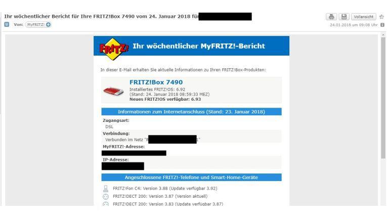 Myfriitz-Bericht im Mailpostfach.