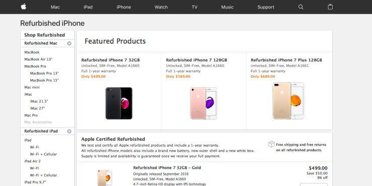 """Generalüberholte iPhones im US-Store - im deutschen Store für """"Generalüberholte Produkte"""" gibt es derzeit keine iPhones zu kaufen."""