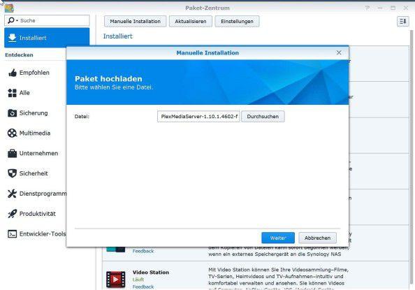 Plex Media Server lässt sich für viele NAS-Modelle auch manuell nachinstallieren.