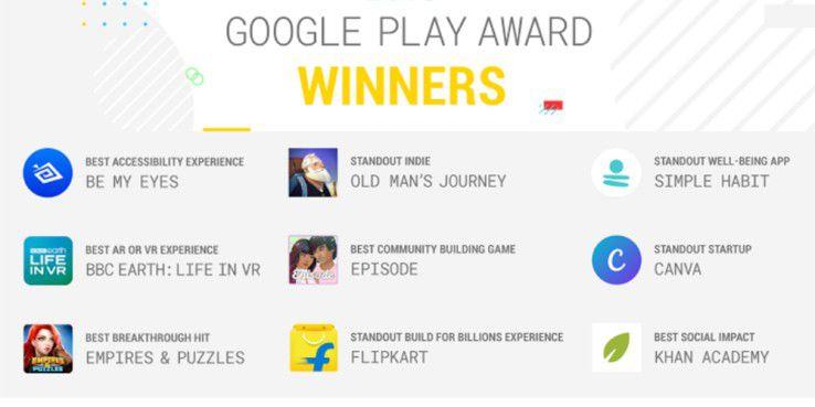 Die Gewinner der Google Play Awards 2018.