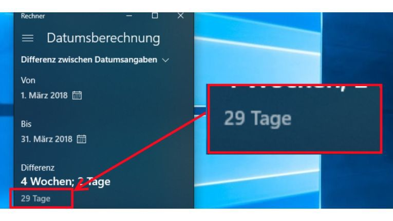 Die Windows 10 Rechner-App berechnet die Differenz der Tage in bestimmten Fällen falsch.