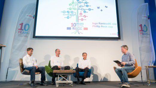 10 Jahre Robert Bosch Venture Capital: Panel mit (v. l.) Philipp Rose (Geschäftsführer Robert Bosch Venture Capital GmbH), Dr. Ingo Ramesohl (Geschäftsführer Robert Bosch Venture Capital GmbH), Dr. Volkmar Denner (CEO, Robert Bosch GmbH) und Moderator Keith Anderson.