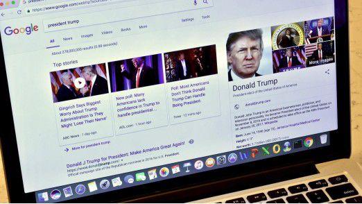 US-Präsident Donald Trump gefällt nicht, was er bei Google über sich findet.