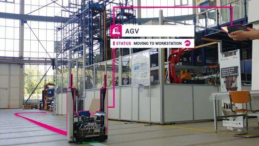 Roboter im Einsatz bei Osram: Im Campus-Netz fahren autonome Transortfahrzeuge.