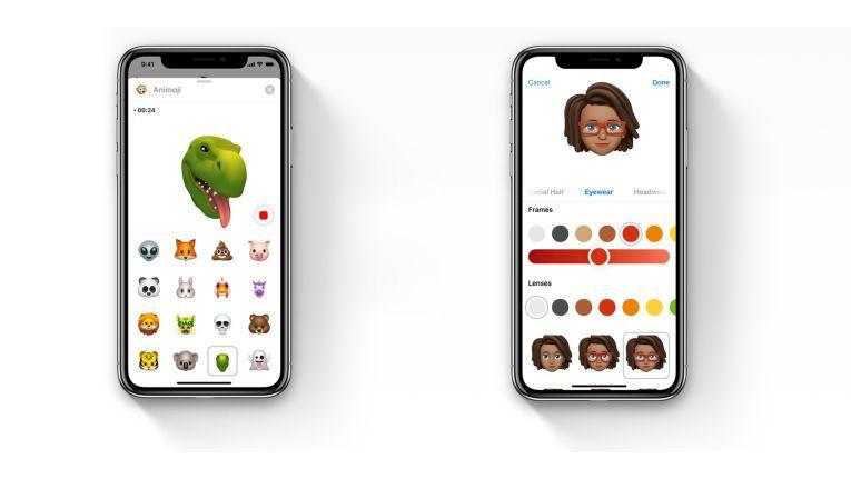 Die Animojis wurden um vier weitere Charaktere erweitert (links). Mit den Memojis können die Nutzer sich nun auch selbst auf das iPhone X animieren.