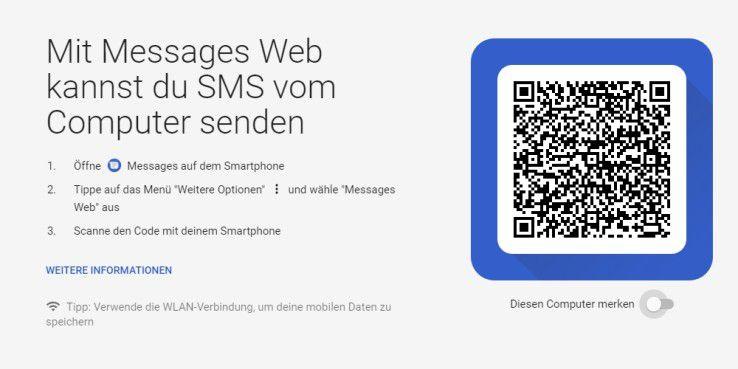 Die Startseite von Messages Web
