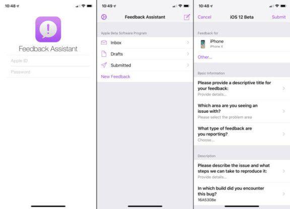 Sie sollten alle Probleme, die Sie finden, über die Feedback App an Apple melden.
