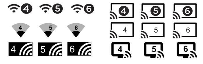 """Wi-Fi """"Generation"""" Icons der Wi-Fi Alliance. Wird Apple so etwas in seinen Menüs unter iOS 13 verwenden?"""