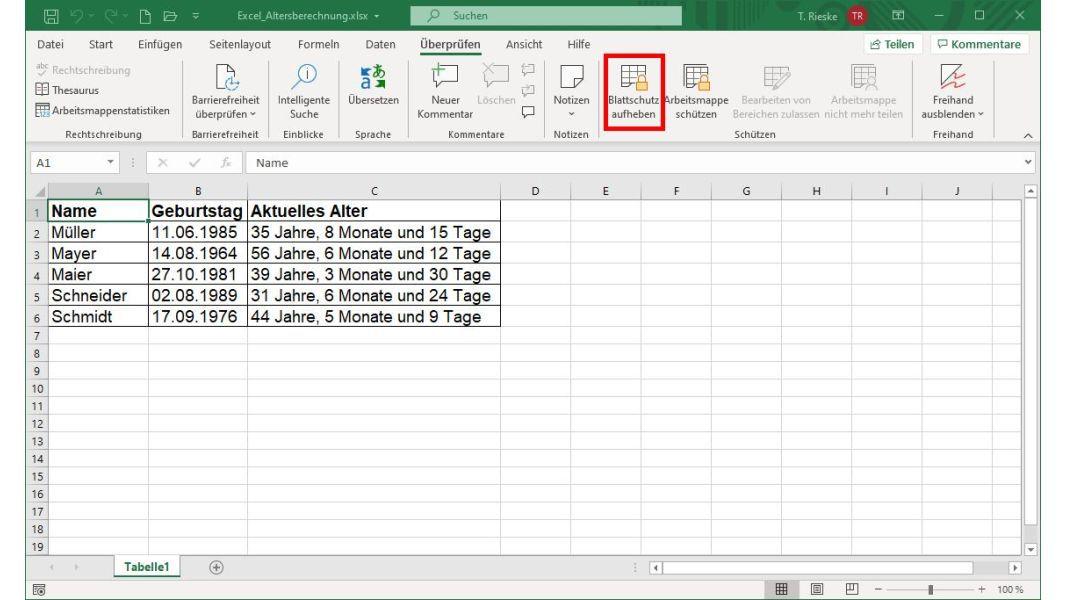 Blattschutz Aufheben Excel 2021