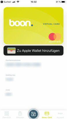 Boon erstellt eine digitale Debitcard