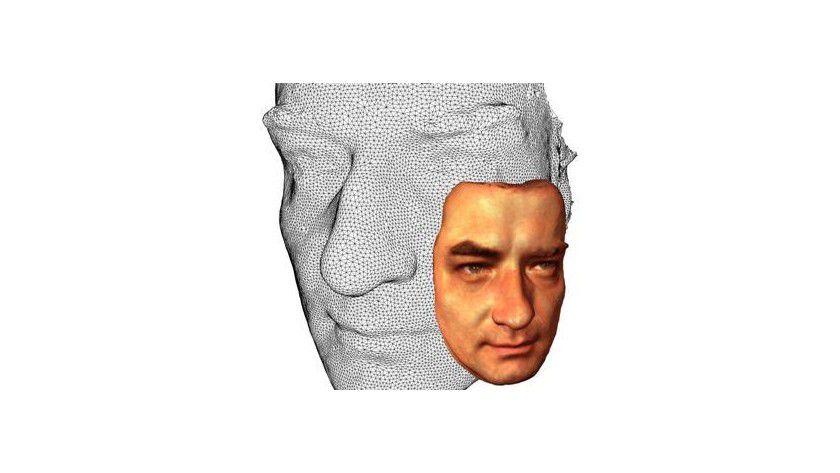 Visualisierung des 3-D-Gesichtserkennungssystems (Biometrie), vom Fraunhofer-IGD entwickelt. Abb.: IGD