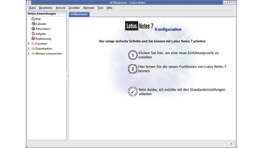 Startbildschirm: Der Startbildschirm des Lotus Notes Client for Linux