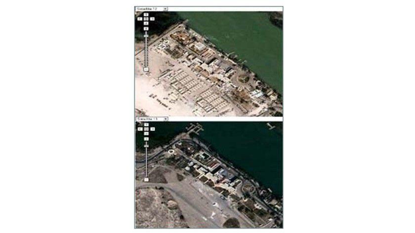 Keine Zelte mehr: Nach dem Einspielen der alten Daten sind in Goole Earth keine leicht zu zerstörenden Objekte mehr zu lokalisieren.