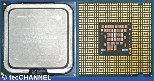 Core 2 Duo E4300: Der Dual-Core-Prozessor für den Sockel LGA775 arbeitet mit 1,8 GHz Taktfrequenz und einem FSB800. Den zwei MByte großen L2-Cache teilen sich beide Kerne dynamisch.