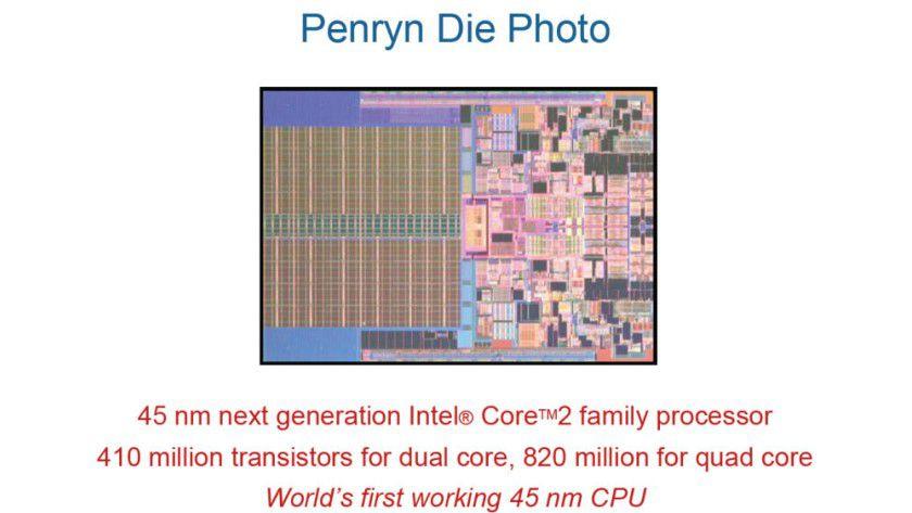 Geschrumpft: Intel verkleinert in der zweiten Jahreshälfte 2007 die Strukturbreite seiner CPUs auf 45 nm. Das Bild zeigt Penryn in der Dual-Core-Variante. (Quelle: Intel)