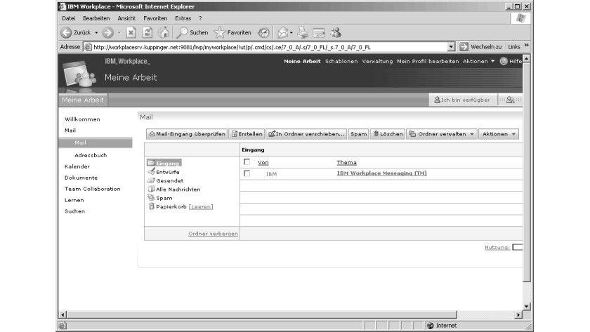 Bild 1: Die Mailschnittstelle des IBM Workplace Messaging.
