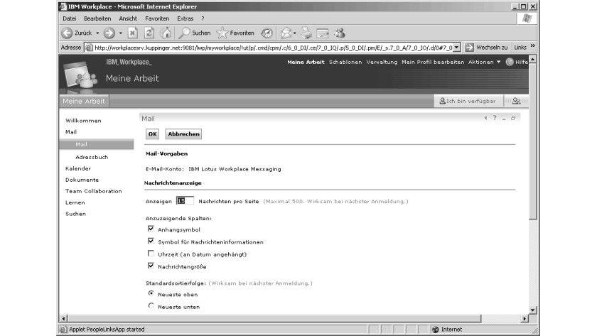 Bild 2: Beim Workplace Messaging lassen sich nur wenige Parameter über die Präferenzen steuern.