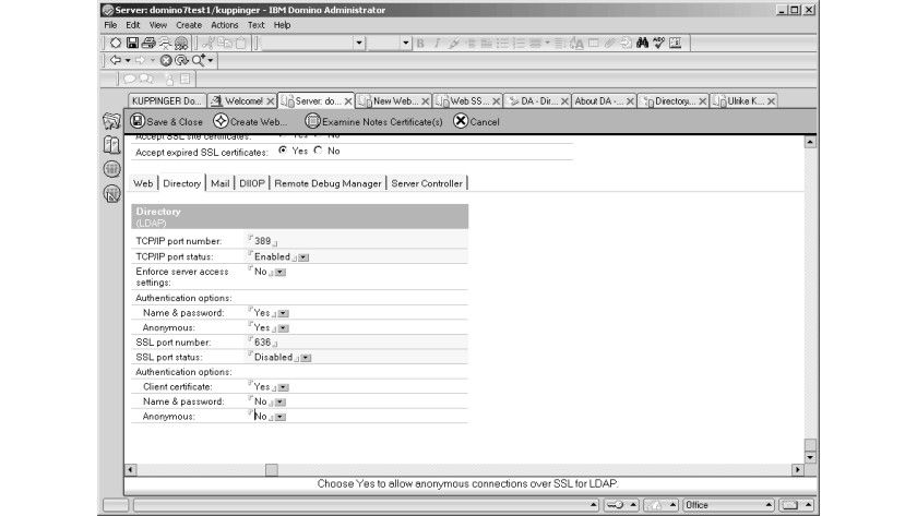 Bild 2: Die Konfiguration der Client-Authentifizierung im Konfigurationsdokument eines Domino-Servers.