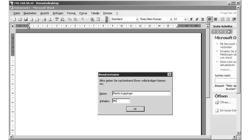 Bild 1: Beim erstmaligen Zugriff eines Benutzers auf Word müssen individuelle Einstellungen definiert werden.