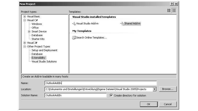 """Bild 1: Der generische Add-In- Assistent ist auch in der """"normalen"""" Visual Studio- Version weiter vorhanden."""