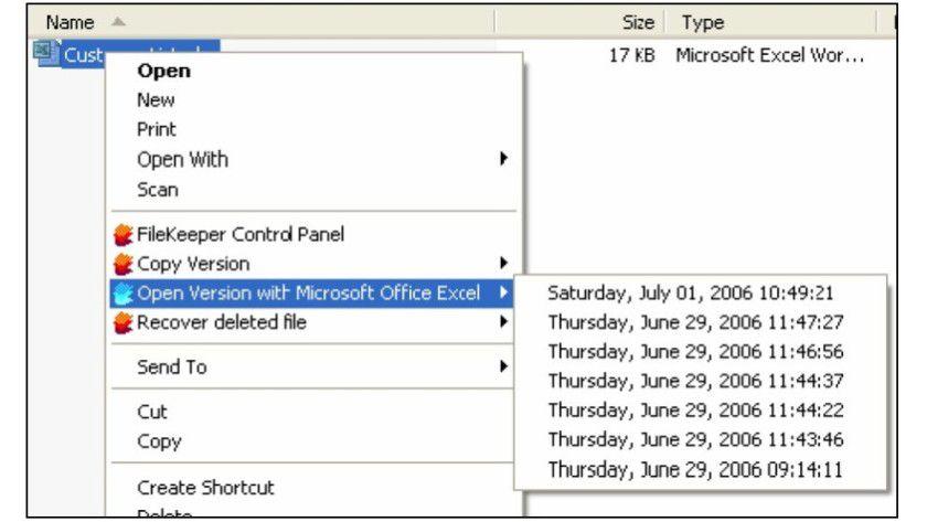 Ältere Datei-Versionen lassen sich über den Windows Explorer öffnen.