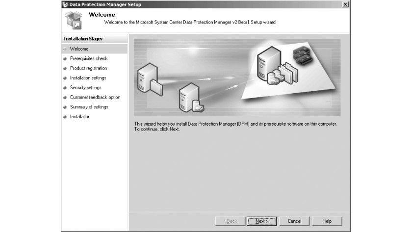 Bild 1: Der Installationsassistent für den DPM 2006 v2.