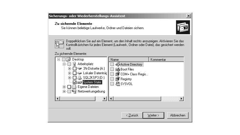 Bild 1: Mit dem Sicherungsprogramm kann der System State gesichert werden, zu dem auch das Active Directory gehört.
