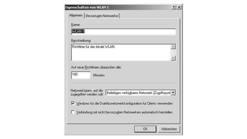 Bild 2: Die Einstellungen im Register Allgemein einer WLAN-Richtlinie.