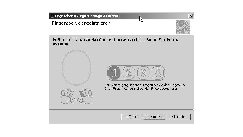 Bild 1: Die Schnittstelle für die Registrierung von Fingerabdrücken.