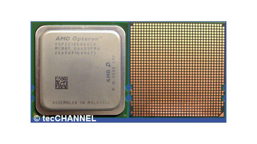 """Opteron 2218 HE """"Santa Rosa"""" 2,6 GHz: Der Dual-Core-Prozessor mit dem Stepping F3 begnügt sich mit 68 Watt TDP. Pro Kern besitzt die CPU einen 1 MByte großen L2-Cache. Der integrierte Speicher-Controller steuert gepufferte DDR2-667-DIMMs an."""