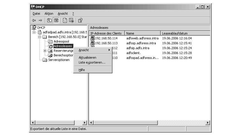 Bild 1: Über den Befehl Liste exportieren können einfach Listen mit den aktuell vergebenen IP-Adressen und Reservierungen eines DHCP-Servers erzeugt werden.