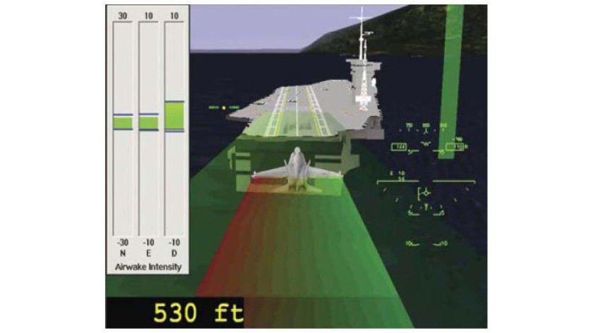 Kampf gegen die Airwakes: Die DoD-Forscher simulieren die Struktur von Flugzeugträgern, um die hinter den Schiffen hergezogenen Airwakes (Turbulenzen) zu entschärfen. (Quelle: SGI)