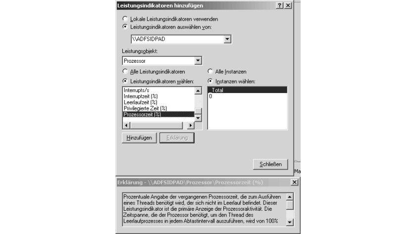 Bild 2: Das Dialogfeld für die Auswahl von Leistungsindikatoren.
