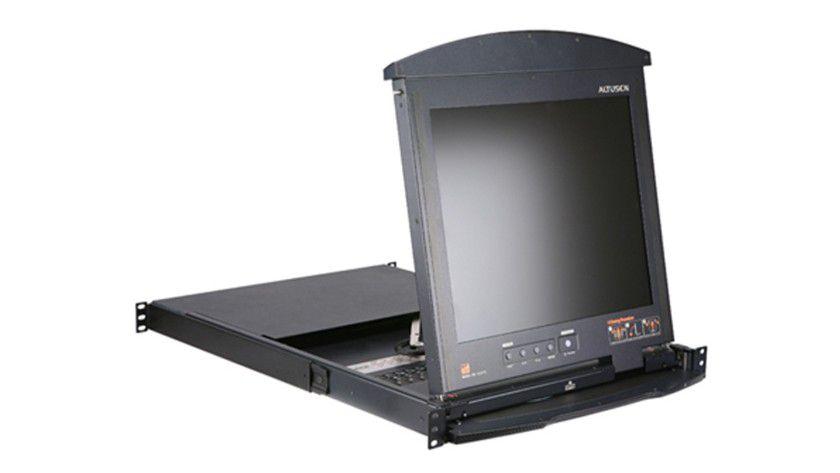 Unikat: Laut ATEN ist der 8/16-Port Hideaway LCD KVM Over the NET, der weltweit erste Dual-Rail LCD KVM-Switch mit Over-IP- und Dual-Bus-Funktionalität. (Quelle: ATEN)