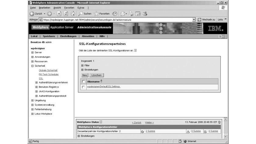 Bild 1: Die Liste der SSL-Konfigurationen.