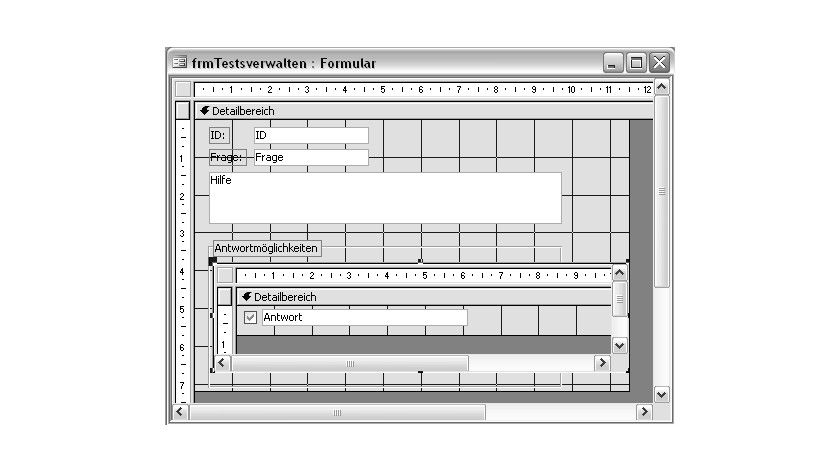 Bild 1: Aufbau des Formulars zur Verwaltung der Fragen und Antworten.