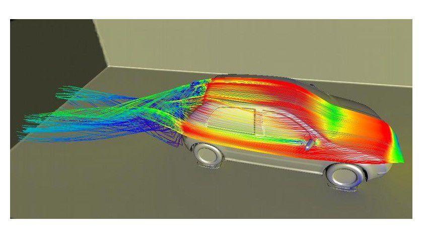 Visualisierung einer Strömungssimulation mit dem iFX-Postprozessor. Bild: Fraunhofer IGD