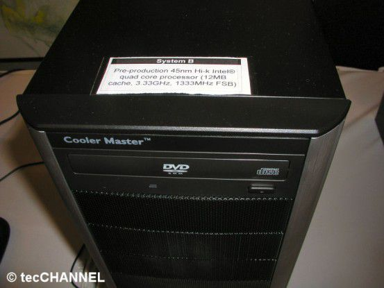 Schnellerer FSB: Intels Wolfdale und Yorkfield (im Bild sehen Sie das Testsystem) arbeiten mit einem FSB1333.