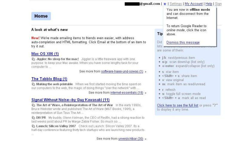 Immer lesen: Gears synchronisiert den Google Reader mit einer lokalen Datenbank, so dass die Feeds auch ohne Internetverbindung angesehen werden können.