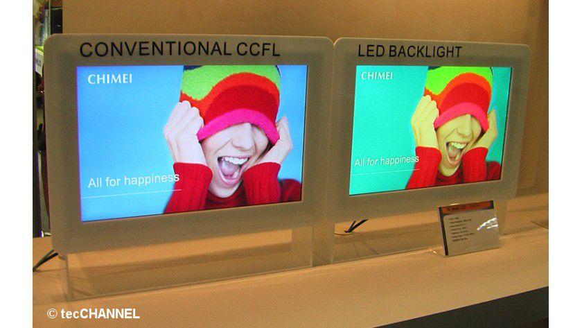 Qualitätsunterschied: Die LED-Backlight-Technologie ist gegenüber der herkömmlichen Kaltkathodentechnik (CCFL) nahezu in allen Belangen deutlich im Vorteil.