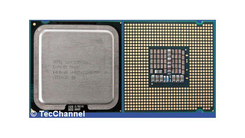 Core 2 Extreme QX6850: Der Quad-Core-Prozessor mit 3,00 GHz Taktfrequenz setzt sich aus zwei Dual-Core-Dies zusammen. Die FSB1333-CPU für den Sockel LGA775 verfügt über insgesamt 8 MByte L2-Cache.