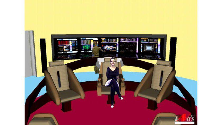 Dreidimensionale Bildschirme lassen sich auch interaktiv nutzen: In einer 3-D-Szene, etwa der Brücke eines Raumschiffs, kann sich der Nutzer frei bewegen und interagieren. Foto: Fraunhofer IDMT