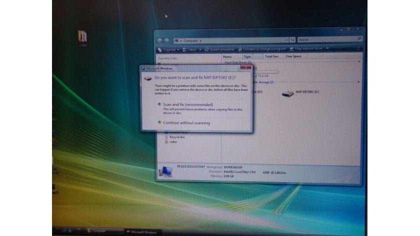 Neues Medium: Vista erkennt das Wireless USB Medium und bindet es als Wechseldatenträger ein.
