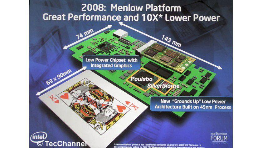 Menlow: Intels 2008er UMPC-Plattform setzt sich aus dem Silverthorne-Prozessor sowie dem Poulsbo-Chipsatz zusammen. Die Chips benötigten deutlich weniger Platz als ihre Vorgänger.