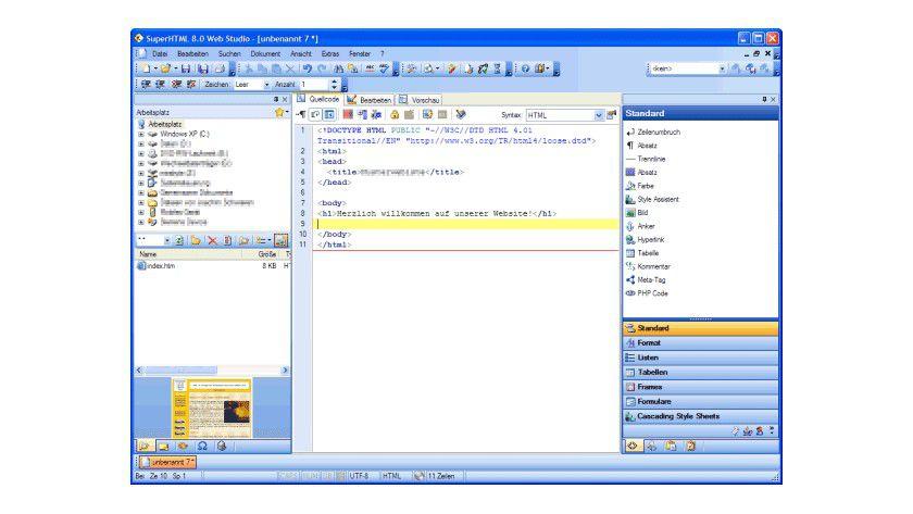 SuperHTML: Der Webeditor bietet alles, was man von einem Werkzeug zur Code-Bearbeitung erwarten darf.
