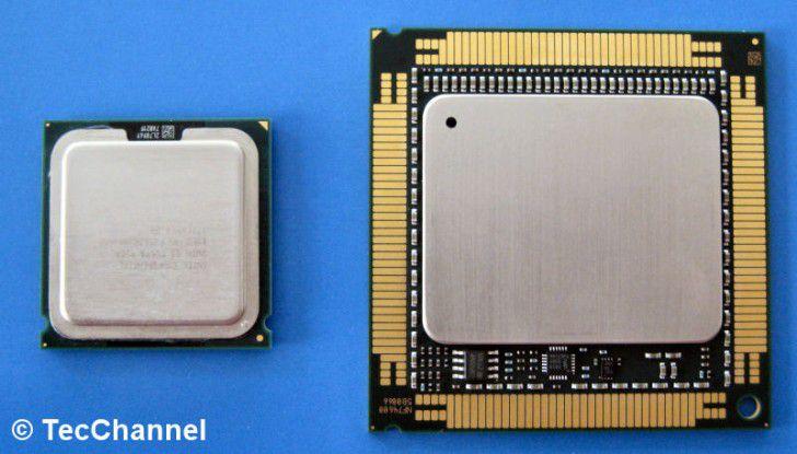 Big Iron: Tukwila unterscheidet sich schon in den Prozessor-Abmessungen deutlich von einem Xeon 5300 (links im Bild). Primärer Einsatzzweck sind auch Mission Critical Server.