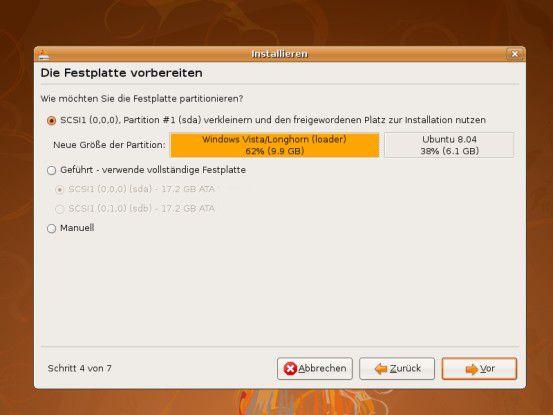 Hand in Hand: Das Partitionierungsprogramm von Ubuntu kann Partitionen automatisch verkleinern und das Linux-Betriebssystem neben Windows installieren.