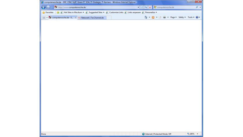 Passiert nur selten: Bei dieser Website liefert der IE8 gar keine Ausgabe.