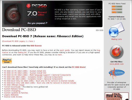 Herunterladen: PC-BSD ist nun auch als DVD-Abbild, USB-Version und VMware-Image erhältlich.