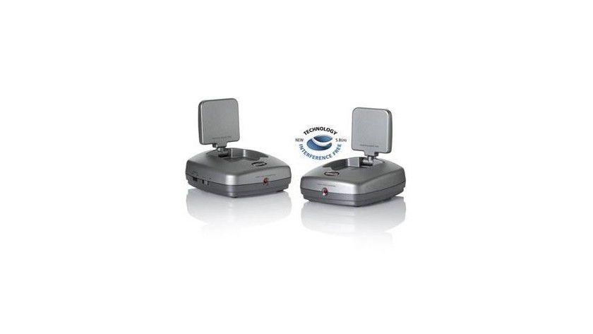 Das GigaVideo 580 vom Marmitek für Video- und Audioübertragungen arbeitet mit 5,8 Gigahertz und stört deshalb keine weiteren Funkverbindungen im Haushalt. Foto: Matrixx